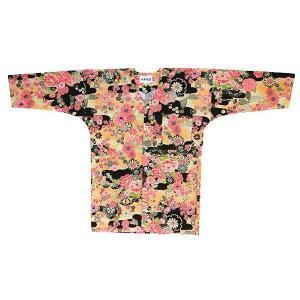 鯉口シャツ 祭り ダボシャツ メンズ レディース カラフル 黒地 牡丹 鯉口シャツ 祭り用品|kameya