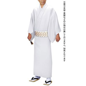 男物仕立上り白無地着物(単衣・一越ちりめん・白) 男性用セミフォーマル衣裳 踊り・舞台・パーティー用男のきもの 洗える着物 メンズ和装 [日本製]|kameya