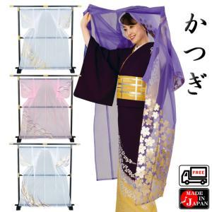 オーガンジー箔付かつぎ 踊り衣裳 日本舞踊 舞台 歌舞伎 能楽用 踊り用羽織 舞台用ヴェール 全4柄 フリーサイズ|kameya