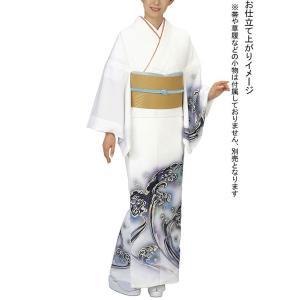 訪問着の反物(一越ちりめん・白・大波) 絵羽着物 踊り・舞台・パーティー用訪問着 洗える着物反物|kameya