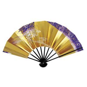 舞扇子(長さ29cm・黒骨・ゴールド・藤) 日本舞踊扇子 踊り扇子 踊り小道具 舞扇 化粧箱付き舞踊扇|kameya