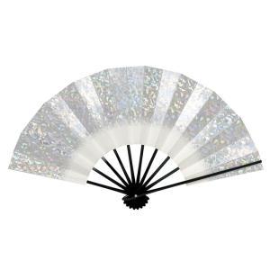 舞扇子(長さ29cm・黒骨・シルバーホログラム) 日本舞踊扇子 踊り扇子 踊り小道具 舞扇 化粧箱付き舞踊扇|kameya