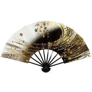 舞扇子(長さ29cm・黒骨・黒暈し・桜吹雪) 日本舞踊扇子 踊り扇子 踊り小道具 舞扇 化粧箱付き舞踊扇|kameya