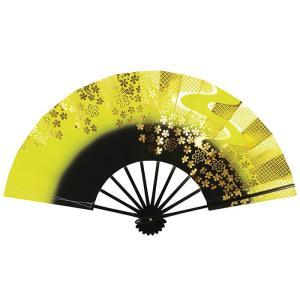 舞扇子 舞踊 扇子 舞扇 踊り 祭り 日本舞踊 日舞 黒骨 黄色 黒 ぼかし 桜 箱付 kameya