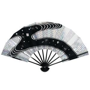 舞扇子(長さ29cm・黒骨・ホログラム銀・流水) 日本舞踊扇子 踊り扇子 踊り小道具 舞扇 化粧箱付き舞踊扇|kameya