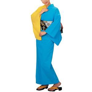 浴衣 ゆかた レディース 女物 盆踊り 祭り ユカタ 踊り 片身替わり 無地 カラー浴衣 ブルー イエロー|kameya