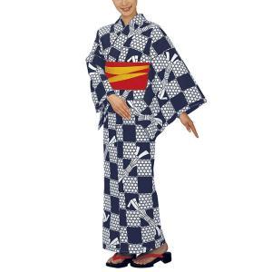 浴衣 ゆかた レディース 女物 盆踊り 祭り ユカタ 踊り イベント レトロ浴衣 市松 籠目 束ね熨斗|kameya