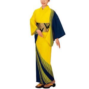 浴衣 ゆかた 反物 レディース メンズ 盆踊り 祭り ユカタ 踊り 絵羽浴衣 黄 縦縞 kameya