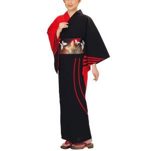 浴衣 ゆかた 反物 レディース メンズ 盆踊り 祭り ユカタ 踊り 絵羽浴衣 黒 赤 流水|kameya
