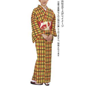小紋 着物 反物 レディース ちりめん 踊り 舞台 レトロ 小紋 洗える着物 黄色 格子|kameya