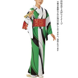 【在庫限定】小紋反物(白/緑・流水) レトロモダンきもの着尺 踊り・舞台・パーティー用着物反物 洗える着物|kameya