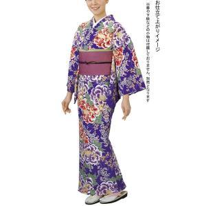 手染め小紋反物(紫・牡丹・萩・桔梗) レプリカ大正ロマンきもの着尺 踊り・舞台・パーティー用着物反物 洗える着物|kameya