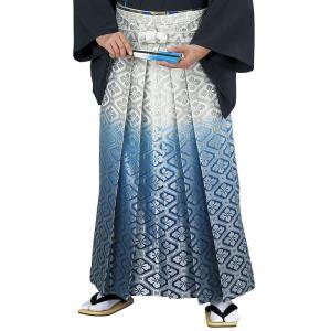 銀襴袴(馬乗り型・シルバー/ブルー/ネイビー暈し・蜀江花菱) 日舞 詩吟 能楽の舞台 舞踊袴 式典 成人式のはかま 高品位日本製 踊り袴|kameya