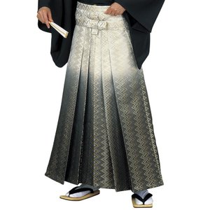 金襴袴(馬乗り型・アイボリー/グレー暈し・稲妻) 日舞 詩吟 能楽の舞台 舞踊袴 式典 成人式のはかま 高品位日本製 踊り袴|kameya