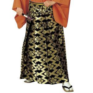 袴 メンズ レディース 馬乗り はかま 成人式 踊り 金襴 袴 日本製 黒 金 松皮菱 花菱|kameya