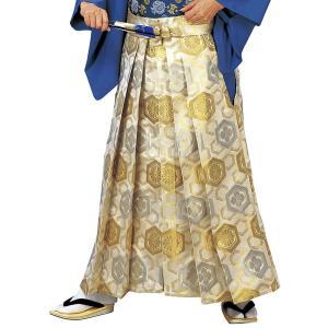 金襴袴(馬乗り型・ベージュ・亀甲・唐花・菊亀甲) 日舞 詩吟 能楽の舞台 舞踊袴 式典 成人式のはかま 高品位日本製 踊り袴|kameya