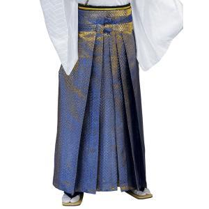 袴 メンズ レディース 馬乗り はかま 成人式 踊り 金襴 袴 日本製 ブルー 金ラメ|kameya