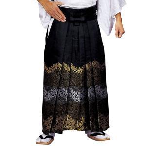 金襴袴(馬乗り型・黒・青海波・老松) 日舞 詩吟 能楽の舞台 舞踊袴 式典 成人式のはかま 高品位日本製 踊り袴|kameya