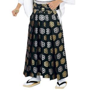 金襴袴(馬乗り型・黒・亀甲菊菱・亀甲花菱) 日舞 詩吟 能楽の舞台 舞踊袴 式典 成人式のはかま 高品位日本製 踊り袴|kameya