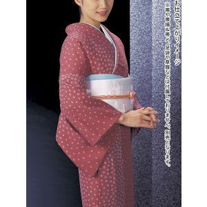 小紋 着物 反物 レディース ちりめん 踊り 舞台 シック 小紋 洗える着物 蘇芳色 花|kameya
