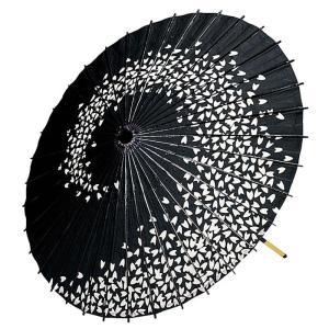 紙舞傘(直径81cm×柄の長さ79cm・2本継ぎ・黒・桜渦巻き) 踊り傘 舞踊傘 舞台用舞傘 ステージ用紙傘 日舞・歌舞伎用傘 舞踊小道具 和傘 [kz] kameya