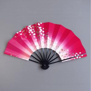 舞扇子(長さ29cm・紅ボカシ/桜吹雪) 日本舞踊扇子 踊り扇子 踊り小道具 舞扇 化粧箱付き舞踊扇|kameya