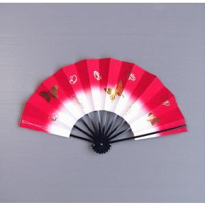 舞扇子 子供用 舞踊 扇子 舞扇 踊り 祭り 日本舞踊 日舞 長さ27cm 赤地 蝶 箱付|kameya