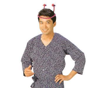 鯉口シャツ 祭り 子供用 祭シャツ ダボ シャツ 鯉口 子ども 小紋 紺 松葉 踊り 祭り用品|kameya