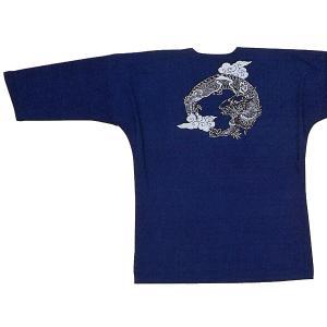 鯉口シャツ 祭り ダボシャツ メンズ レディース 藍染め 竜 鯉口シャツ 祭り用品|kameya