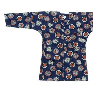 鯉口シャツ 祭り ダボシャツ メンズ レディース 家紋 茄子紺 鯉口シャツ 祭り用品|kameya