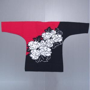 鯉口シャツ 祭り ダボシャツ メンズ レディース 牡丹 黒 赤 鯉口シャツ 祭り用品|kameya