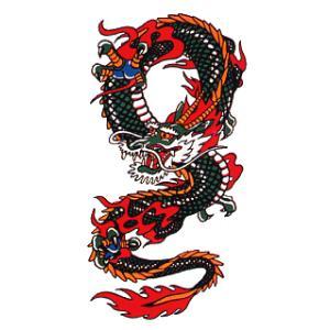 ペーパー タトゥー 刺青 シール 入れ墨 ボディ ペイント 昇り竜 10×17cm 祭り用品|kameya