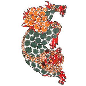 ペーパータトゥー(唐獅子/10cm×17.5cm) 祭化粧入れ墨シール フェイク刺青 パーティ用タトゥーシール|kameya
