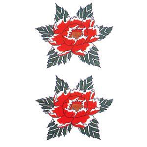 ペーパー タトゥー 刺青 シール 入れ墨 ボディ ペイント 牡丹 10×17cm 祭り用品|kameya