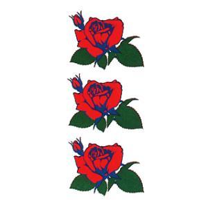 ペーパータトゥー(赤薔薇/10cm×17.5cm) 祭化粧入れ墨シール フェイク刺青 パーティ用タトゥーシール|kameya