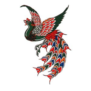 ペーパータトゥー(フェニックス/10cm×17.5cm) 祭化粧入れ墨シール フェイク刺青 パーティ用タトゥーシール|kameya