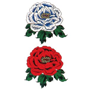 ペーパータトゥー(赤白牡丹/10cm×17.5cm) 祭化粧入れ墨シール フェイク刺青 パーティ用タトゥーシール|kameya