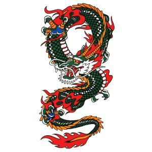 大判ペーパータトゥー(昇り竜/20cm×35cm) 祭化粧入れ墨シール フェイク刺青 パーティ用タトゥーシール|kameya