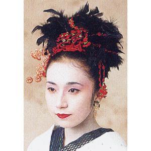 髪飾り セット 黒鳥羽根 赤 バレッタ 成人式 卒業式 晴れ着 振袖 舞台 髪飾り|kameya