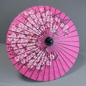 舞傘(直径80cm×柄の長さ78cm・ピンク・花枝) 花柄の舞踊傘 踊り傘 舞台用舞傘 ステージ用紙傘 日舞・歌舞伎用傘 舞踊小道具 和傘 kameya