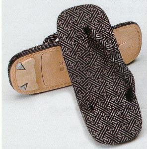 印伝風草履(紗綾型) ぞうり 着物 浴衣 作務衣 甚平用草履 男性用草履 和風サンダル 祭り用品|kameya