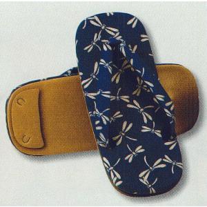 紺地にトンボ柄の綿布を張った布表草履です。カジュアル〜セミフォーマルな男和装の足元におすすめです! ...