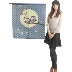 縁起のれん(幅85cm×丈90cm・森のちえぶくろう) おめでたい絵柄の福暖簾 インテリア暖簾|kameya