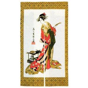 のれん 暖簾 おしゃれ 和風 ロング 浮世絵のれん 85×150cm 短冊と女|kameya
