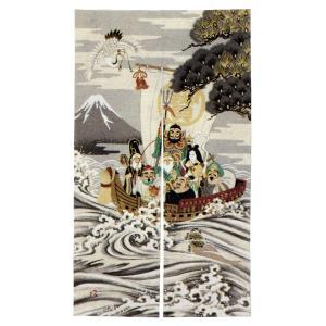 のれん 暖簾 おしゃれ 和風 ロング 浮世絵のれん 85×150cm 七福神|kameya
