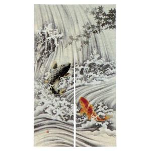 のれん 暖簾 おしゃれ 和風 ロング 浮世絵のれん 85×150cm 昇り鯉|kameya