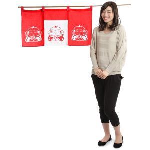紅白のれん(幅90cm×丈45cm・福助) おめでたい絵柄の福暖簾 インテリア暖簾|kameya