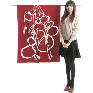 のれん 和風 おしゃれ 暖簾 間仕切り 綿紬のれん ロング 90×120cm エンジ 瓢箪|kameya