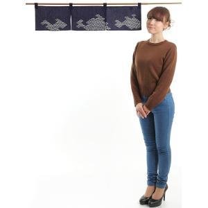 のれん おしゃれ カウンター 暖簾 和風 のれん ショート 85×20cm 紺 青海波|kameya