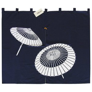 ドア暖簾(幅85cm×丈75cm・蛇の目傘) 間仕切りのれん ブラインド暖簾|kameya